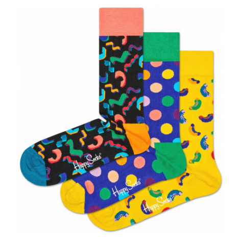 Happy Socks Happy Birthday Set of 3 pairs of socks Black Blue Yellow