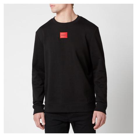 HUGO Men's Cotton Terry Red Logo Sweatshirt - Black Hugo Boss
