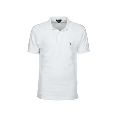 Gant THE ORIGINAL FITTED PIQUE RUGGER men's Polo shirt in White
