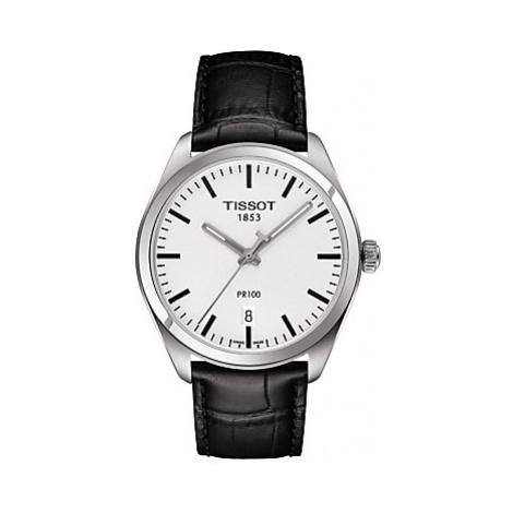 Tissot T1014101603100 Men's PR 100 Date Leather Strap Watch, Black/White