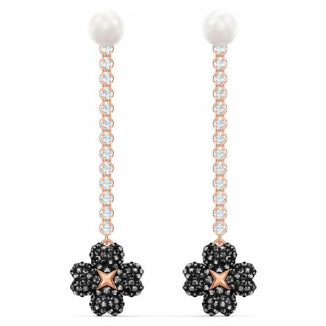 Latisha Pierced Earrings, Black, Rose-gold tone plated Swarovski