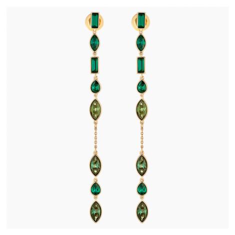 Beautiful Earth by Susan Rockefeller Pierced Earring Jackets, Long, Green, Gold-tone plated Swarovski