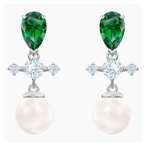 Perfection Drop Pierced Earrings, Green, Rhodium plated Swarovski