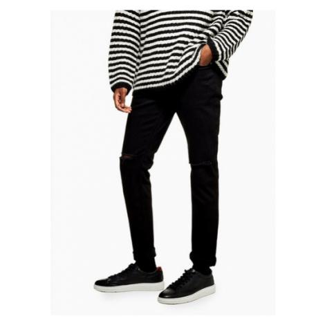Mens Black Double Ripped Stretch Skinny Jeans, Black Topman