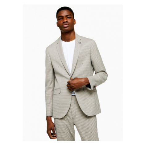 Mens Grey Stone Mini Check Single Breasted Skinny Fit Suit Blazer With Notch Lapels, Grey Topman