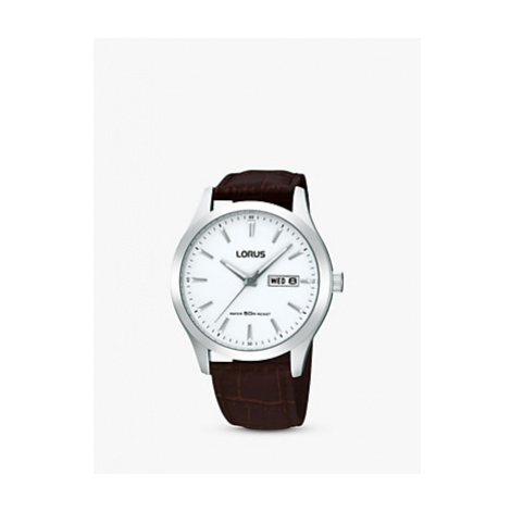 Lorus RXN29DX9 Men's Classic Day Date Leather Strap Watch, Brown/White