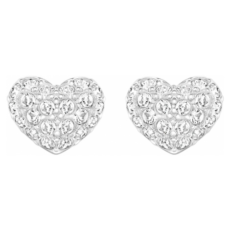 Heart Pierced Earrings, White, Rhodium plated Swarovski