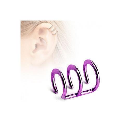 earrings Body Art RSFXT - 03-A/Triple Ring/Clip On/Purple