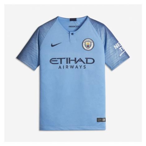 2018/19 Manchester City FC Stadium Home Older Kids' Football Shirt - Blue Nike