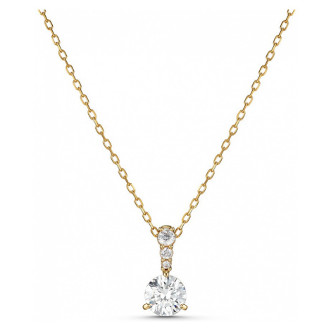 Swarovski Solitaire White Crystal Gold Plated Pendant Necklace