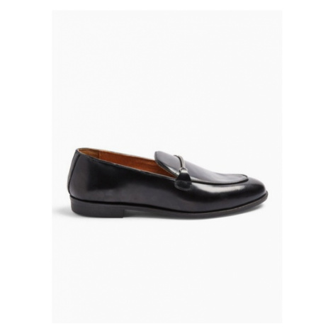 Mens Black Leather Askew Chain Loafers, Black Topman