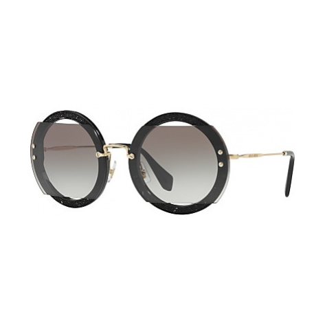 Miu Miu MU 06SS Round Beaded Sunglasses, Black