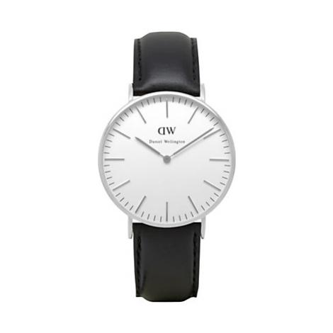 Daniel Wellington DW00100053 Women's 36mm Vintage Leather Strap Watch, Black/White