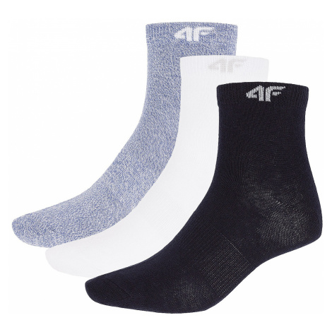 socks 4F X4Z18-SOD301/3 Pack - White/Blue Melange/Navy - women´s