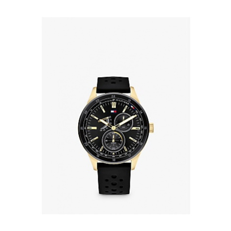 Tommy Hilfiger 1791636 Men's Single Chronograph Leather Strap Watch, Black