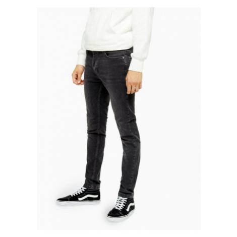 Mens Wash Black Stretch Skinny Jeans, Black Topman