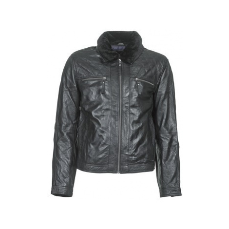 Teddy Smith BLEATHER men's Leather jacket in Black