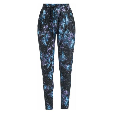 Full Volume by EMP Relaxed Black Trousers with Galaxy Print Cloth Trousers black
