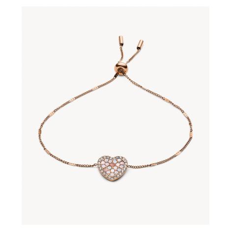 Fossil Women's Mosaic Heart Rose Gold-Tone Stainless Steel Bracelet - Rose Gold