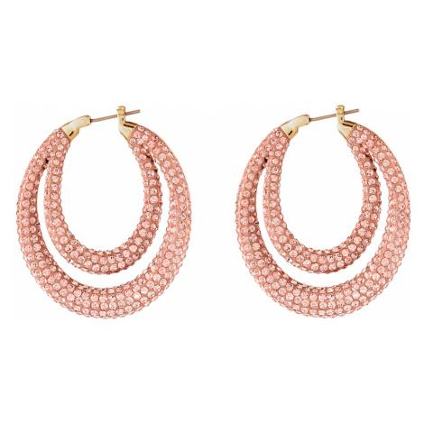 Tigris Hoop Pierced Earrings, Pink, Gold-tone plated Swarovski