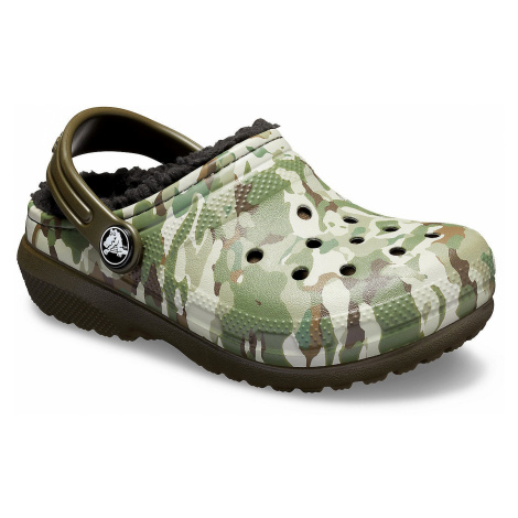 shoes Crocs Classic Fuzz Lined Graphic Clog - Dark Camo Green/Black - kid´s