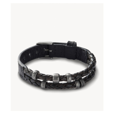 Fossil Men's Leather Bracelet Black - Black Silver