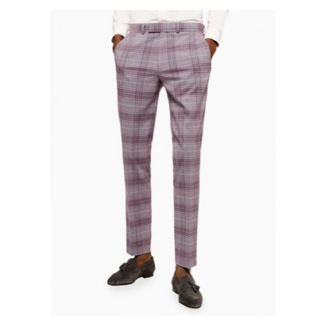 Mens Red Check Skinny Fit Suit Trousers, Red Topman