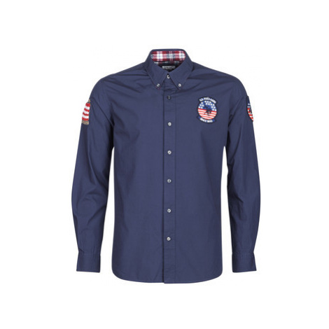 U.S Polo Assn. USA PATCH SHIRT BD men's Long sleeved Shirt in Blue U.S. Polo Assn