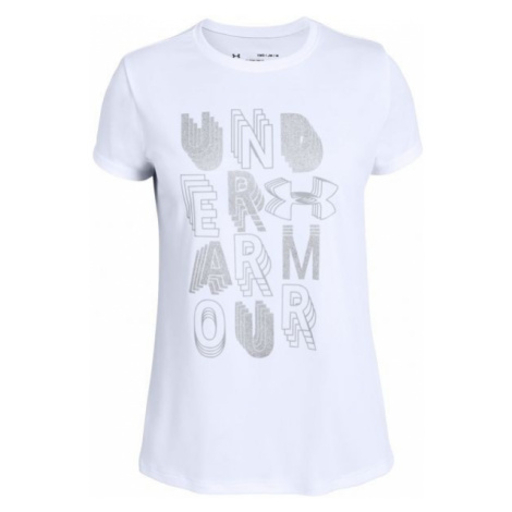 Under Armour LINEAR WORDMARK SS white - Girls' T-shirt