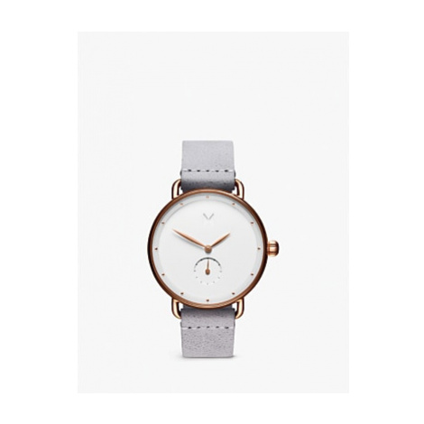 MVMT Women's Bloom Leather Strap Watch, Grey/White D-FR01-RGGR