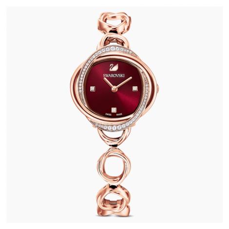 Crystal Flower Watch, Metal bracelet, Red, Rose-gold tone PVD Swarovski