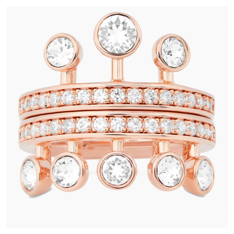 Theater Ring, White, Rose-gold tone plated Swarovski