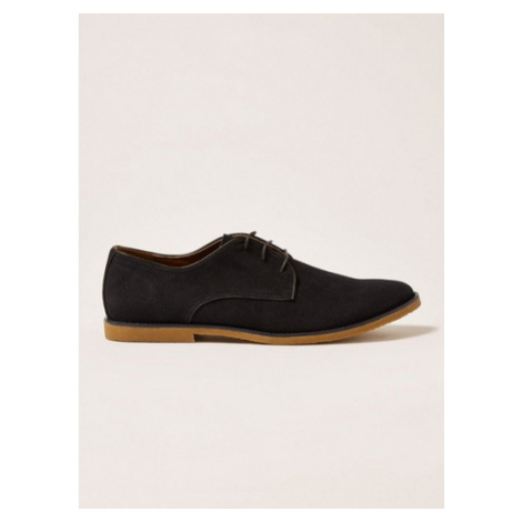 Mens Navy Faux Suede Spark Desert Shoes, Navy Topman