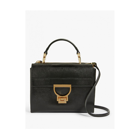 Coccinelle Arlettis Lizard Leather Mini Bag, Black