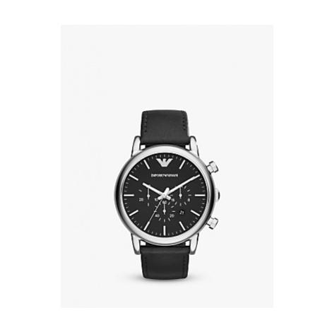 Emporio Armani AR1828 Men's Chronograph Date Leather Strap Watch, Black