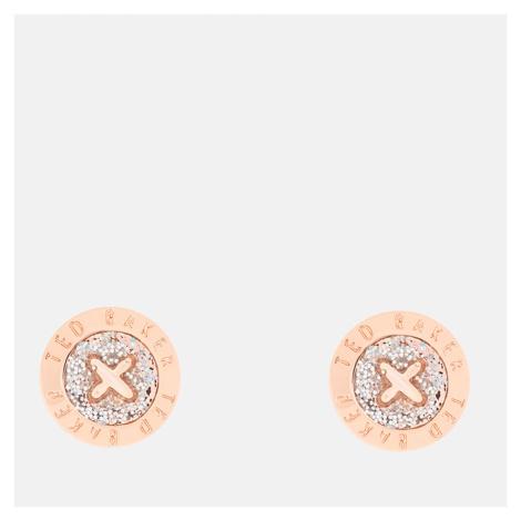 Ted Baker Women's Eisley Enamel Mini Button Earrings - Rose Gold/Silver Glitter - Rose Gold