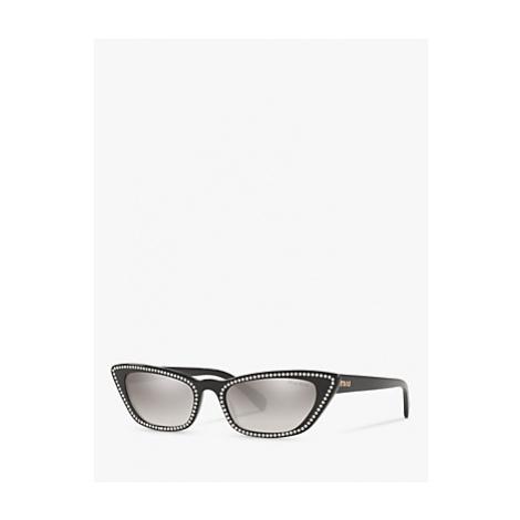 Miu Miu MU 10US Women's Stud Cat's Eye Sunglasses, Black