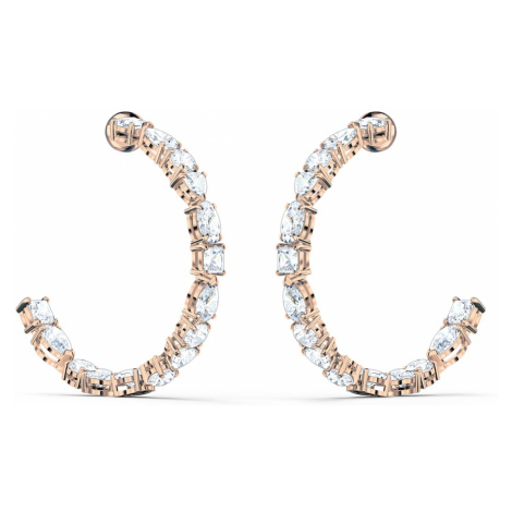 Tennis Deluxe Mixed Hoop Pierced Earrings, White, Rose-gold tone plated Swarovski