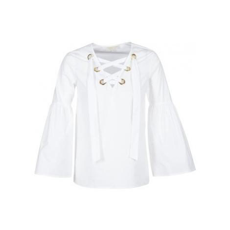 MICHAEL Michael Kors POPLIN GRMT LCE UP T. women's Blouse in White