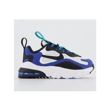 Nike Air Max 270 React Infant Trainers WHITE BLACK HYPER BLUE ORACLE AQUA