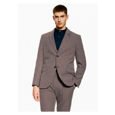 Mens Navy Slim Fit Check Textured Single Breasted Suit Blazer With Notch Lapels, Navy Topman
