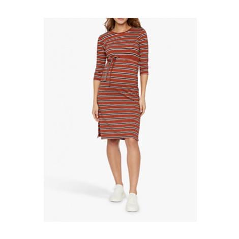 Mamalicious Naya Striped Tie Waist Jersey Maternity Dress, Red/Blue Mama Licious