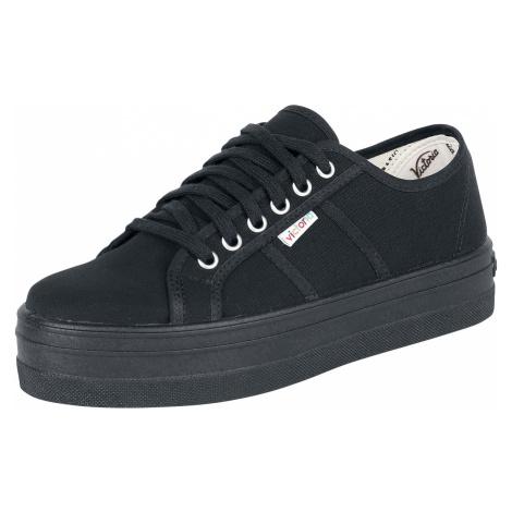 Victoria - Basket Lona Plataforma - Sneakers - black-black