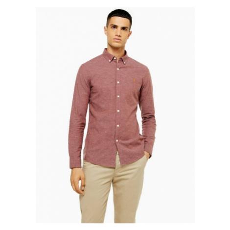 Mens Red Farah Steen Long Sleeve Shirt*, Red