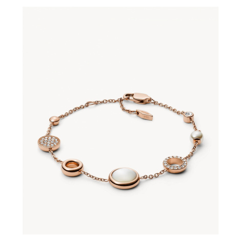 Fossil Women's Rose Gold-Tone Steel Glitz Bracelet - White Mother of Pearl