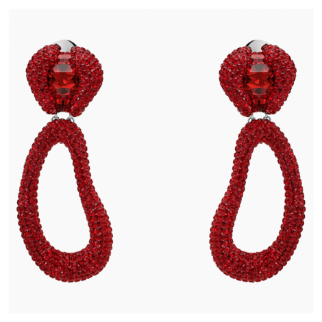Tigris Drop Clip Earrings, Red, Palladium plated Swarovski