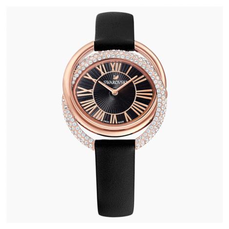 Duo Watch, Leather strap, Black, Rose-gold tone PVD Swarovski