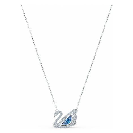 Dancing Swan Necklace, Blue, Rhodium plated Swarovski