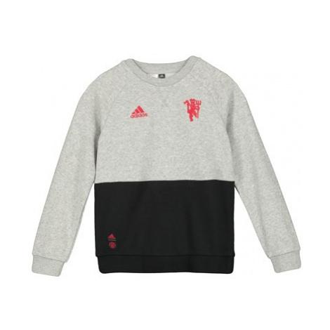 Manchester United Crew Sweat - Grey - Kids Adidas
