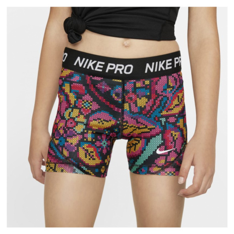 Nike Pro Older Kids' (Girls') Printed Boyshorts - Black
